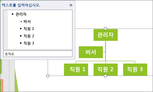SmartArt 조직도의 예를 보여 줍니다.