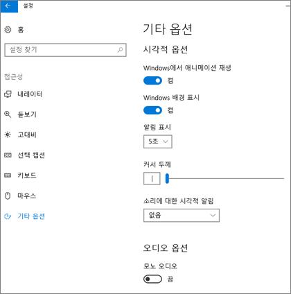 Windows 10 설정의 접근성, 기타 옵션 창