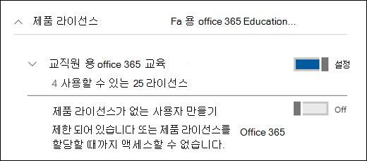 확장 된 제품 라이선스 섹션을 보여 주는 Office 365에서 사용자를 추가 스크린샷