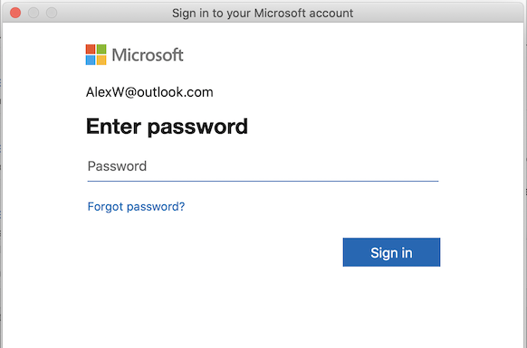 Mac용 Outlook의 MSA 로그인 페이지