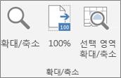 Excel 리본 메뉴의 확대/축소 그룹