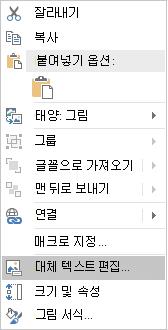 Excel Win32에서 이미지에 대 한 대체 텍스트 편집 메뉴