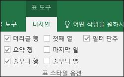 표 셀을 선택한 경우 리본 메뉴의 표 도구 옵션 이미지