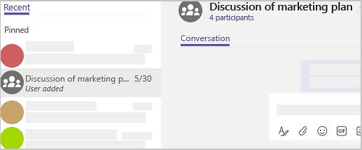그룹 채팅을 찾아 이름을 지정할 수 있습니다.