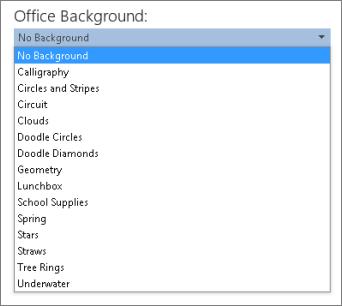 Office 2013 프로그램의 Office 배경 목록