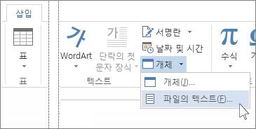 텍스트 그룹의 개체 메뉴