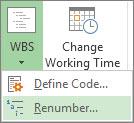 속성 탭, WBS 단추, 드롭다운 메뉴의 번호 다시 매기기 명령 이미지