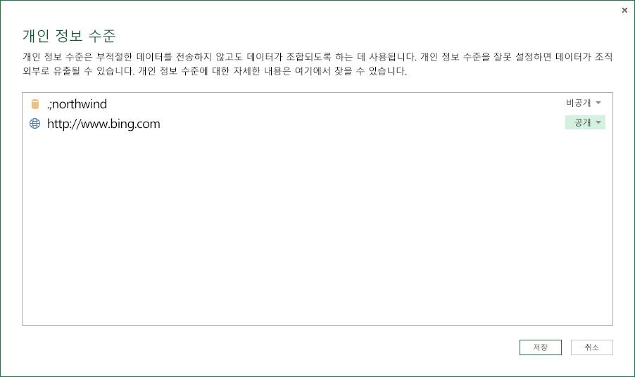 개인 정보 수준