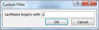 """문자 """"L""""이 입력된 사용자 지정 필터 대화 상자."""