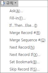 Word의 우편물 탭에 있는 쓰기 및 삽입 그룹에서 액세스되는 필드의 규칙 드롭다운 목록