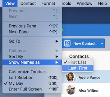 보기 메뉴에서 연락처 이름을 다른 이름으로 표시