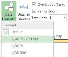 Project의 시간 표시 막대 날짜 형식 단추 및 메뉴