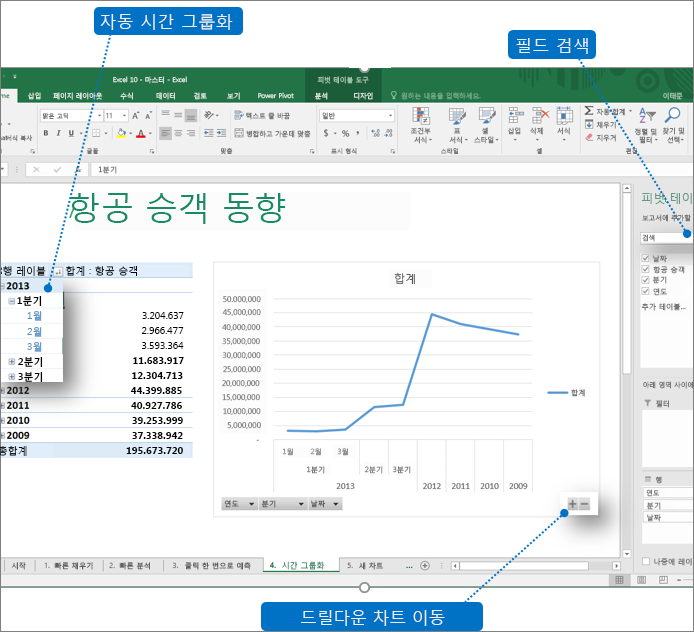 Excel 2016의 새 기능을 표시하는 설명선이 있는 피벗 테이블