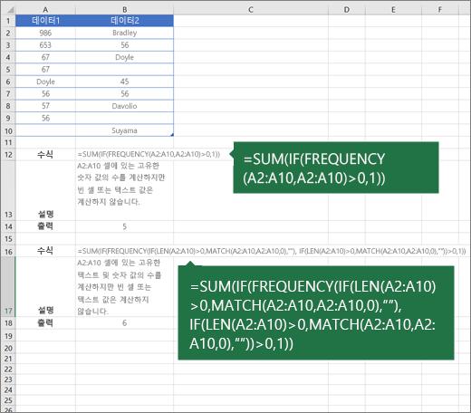 중복 되는 항목의 고유 값 개수를 계산 하는 중첩 함수의 예