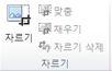 Publisher 2010 그림 도구 탭의 자르기 그룹