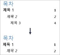 수준 3이 더 이상 표시되지 않도록 수준 수를 변경하는 작업 표시