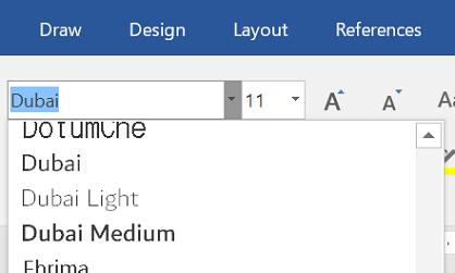 두바이 글꼴을 보여 주는 글꼴 드롭다운 메뉴