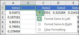 행 또는 열을 삽입 한 후 표시 되는 삽입 옵션 단추 이미지