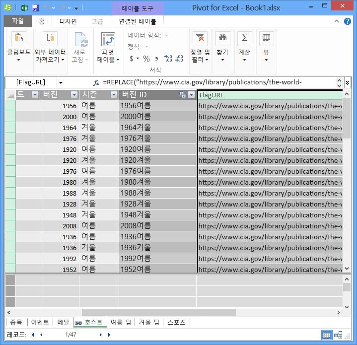PowerPivot 및 DAX로 URL 필드 만들기