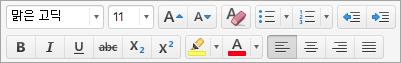텍스트 서식 옵션 표시