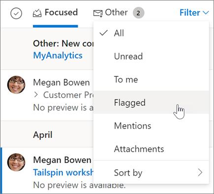 웹용 Outlook에서 전자 메일에 플래그 지정