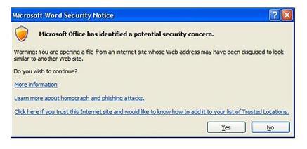 의심스러운 사이트 링크를 클릭할 때 표시되는 Outlook 메시지