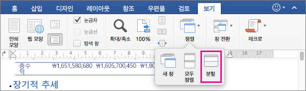 Word 창을 동일한 문서의 두 보기로 나누려면 분할을 클릭합니다.