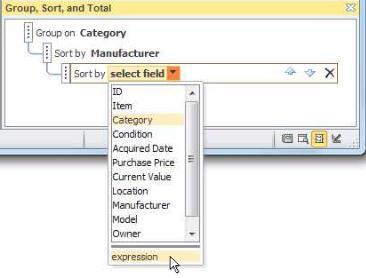 그룹, 정렬 및 요약 창에서 식 옵션 선택