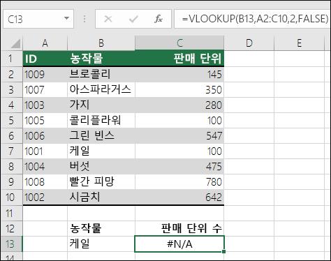 VLOOKUP의 #NA 오류: 테이블 배열의 첫 번째 열에 조회 값이 없음