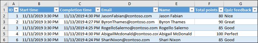 Excel 통합 문서에 퀴즈 결과 표시
