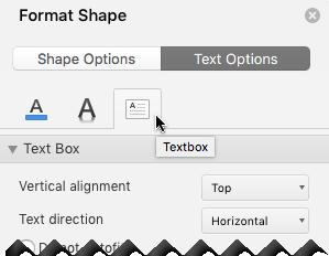 도형 서식 창에서 텍스트 옵션을 선택 > 텍스트 상자