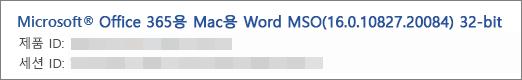 Word 버전, 빌드, 및 비트 버전 표시