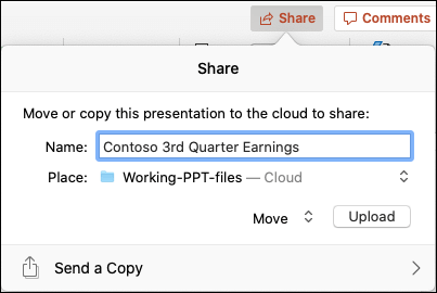 원활한 공유를 위해 프레젠테이션을 Microsoft 클라우드 저장소에 업로드 하는 대화 상자 제공입니다.