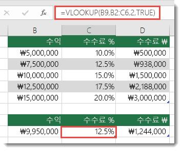 C9 셀의 수식은 =VLOOKUP(B9,B2:C6,2,TRUE)입니다.