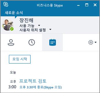 비즈니스용 Skype 창의 모임 탭 스크린샷.