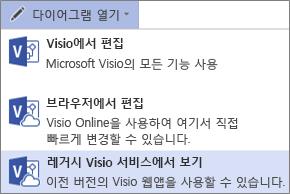 다이어그램 열기, 레거시 Visio 서비스에서 보기 명령