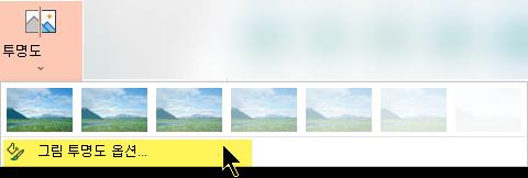 그림 투명도 옵션을 사용 하면 그림에 대 한 불투명의 사용자 지정 수준 선택