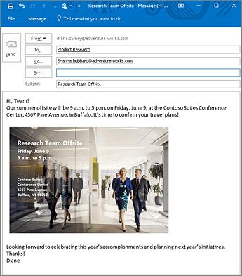6월 9일 리서치 팀 오프사이트에 대한 전자 메일의 이미지입니다. 이 전자 메일에는 사진과 회의 장소 주소가 포함된 이벤트 전단지가 포함되어 있습니다.