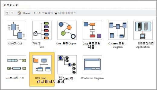 UML 모델 다이어그램 선택