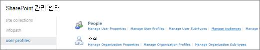 사용자 프로필 페이지의 대상 그룹 관리 링크