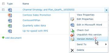 SharePoint 파일에 대 한 드롭다운 목록입니다. 버전 기록을 선택 되어 있습니다.