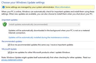Windows 8 제어판의 Windows 업데이트 설정