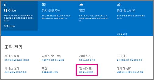 공용 웹 사이트 관리 단계를 보여 주는 관리 페이지