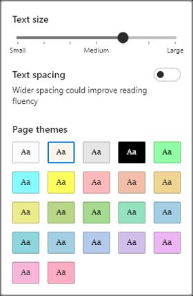 다양 한 옵션의 개요를 표시 하는 텍스트 기본 설정 메뉴