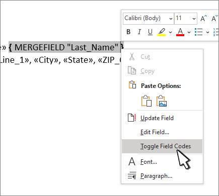 선택 된 필드 코드 토글