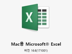 버전 16.6을 보여주는 Mac용 Microsoft Excel 로고