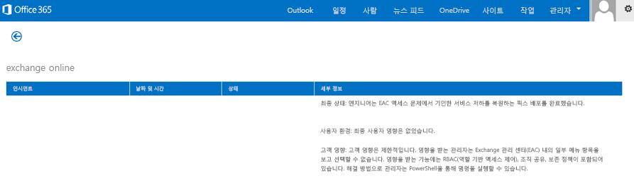 복원 이유와 함께 Exchange Online 서비스가 복원되었음을 설명하는 Office 365 상태 대시보드 그림