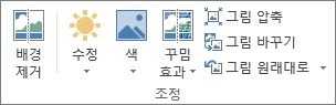 조정 그룹의 그림 옵션