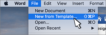서식 파일에서 새로 만들기 옵션
