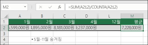 SUM을 다른 함수와 함께 사용.  M2 셀의 수식은 =SUM(A2:L2)/COUNTA(A2:L2)입니다.  참고: 명확하게 하기 위해 5월-11월 열은 숨겨져 있습니다.